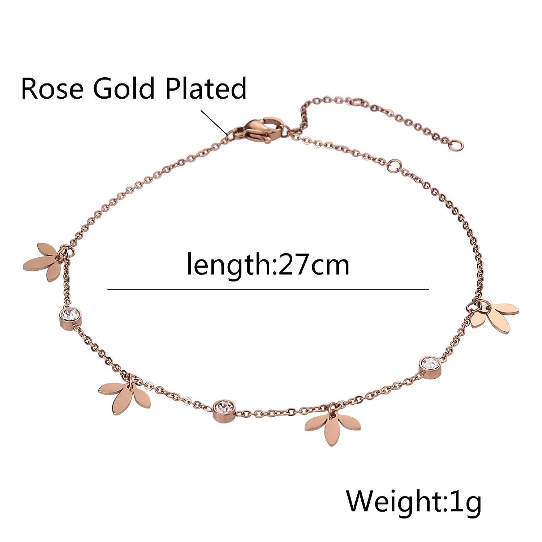 Beydodo Stainless Steel Ankle Bracelet Large Rose Gold Ankle