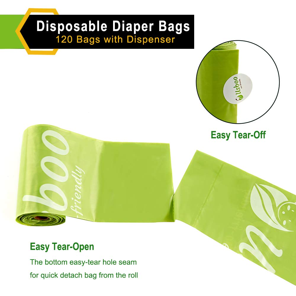 Convenient and Quick Diaper Disposal Unscented Baby Disposable Diaper Bags OXO-Biodegradable Waste Bags 8 Refill Rolls//120 Bags with Dispenser