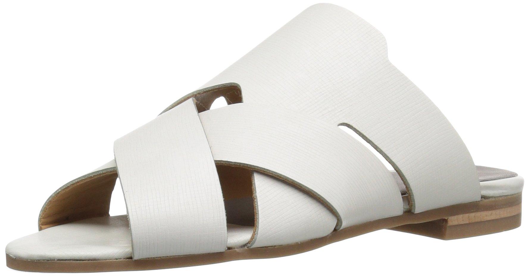 H by Hudson Women's Lonatu Calf Flat Sandal, White, 38 EU/7 M US