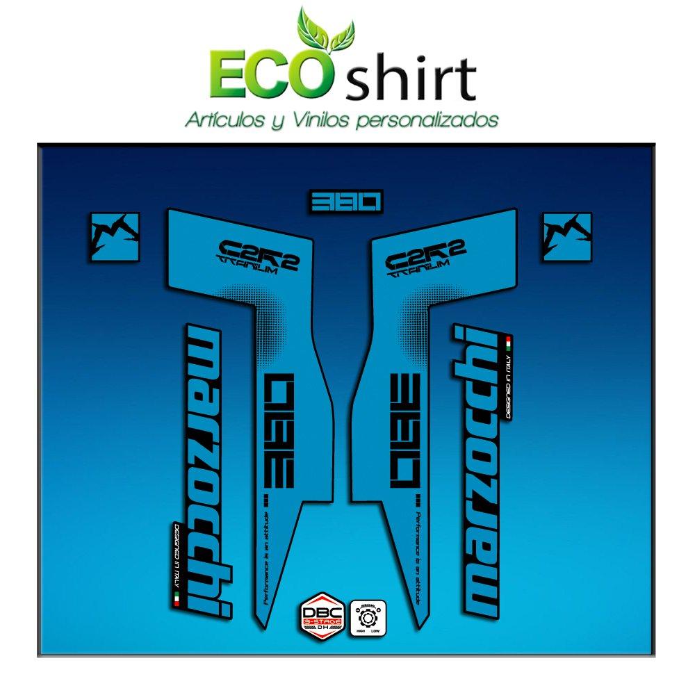 Ecoshirt IS-6O3C-0FXE Aufkleber Sticker Fork Marzocchi 380 C2Rc Titanium Am70 Aufkleber Decals Autocollants Adesivi Forcela Gabel Fourne Blau