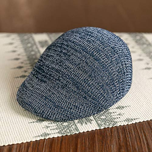 Kecqam Female Spring Summer Autumn Beret Influx Knitted Hats Fashion Casual Ivy Hat Hollow Breathable Caps Men Newsboy Cap French Style Beanie Cap (Color : Tibetan Blue)