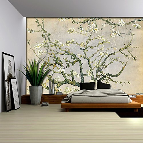 Cream and Gray Almond Blossom by Vincent Van Gogh Wall Mural