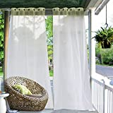 RYB HOME Outdoor Window Curtain – Sime Sheer Porch Screen Mildew Resistant Grommet White Thick Breathable Drape Easy to Dry for Pavilion/Patio/Sunroom, with curtain Rope, 54 x 108 inch, 1 Pc For Sale