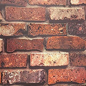 3D Effect Brick Wall Stickers, Thick PVC Realistic Chinese Brick Stone Waterproof Wallpaper (Dark color)