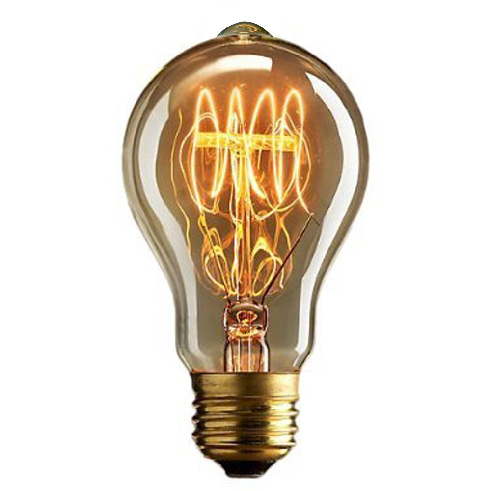 Cmyk/® DIMMABLE Vintage light bulb 60W old fashioned Edison E27 screw quad loop filament
