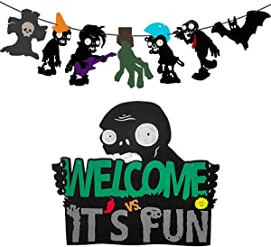 TGE-V Pre-assembledPlants VS Zombies Party Banner and Welcome Hanger Door Sign for Plants VS Zombies Theme Party, Halloween Party Decorations, Room Decor,2 PCS
