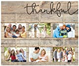 Thankful Script Design 18 x 21 Inch Solid Pine Wood Clothesline Clipboard Photo and Momento Display