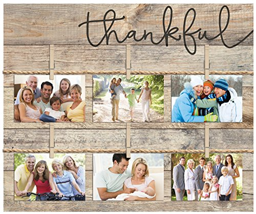 Thankful Script Design 18 x 21 Inch Solid Pine Wood Clothesline Clipboard Photo and Momento Display by P Graham Dunn