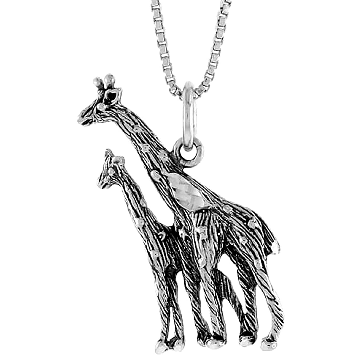 hugging necklace silver and sterling giraffe pendant