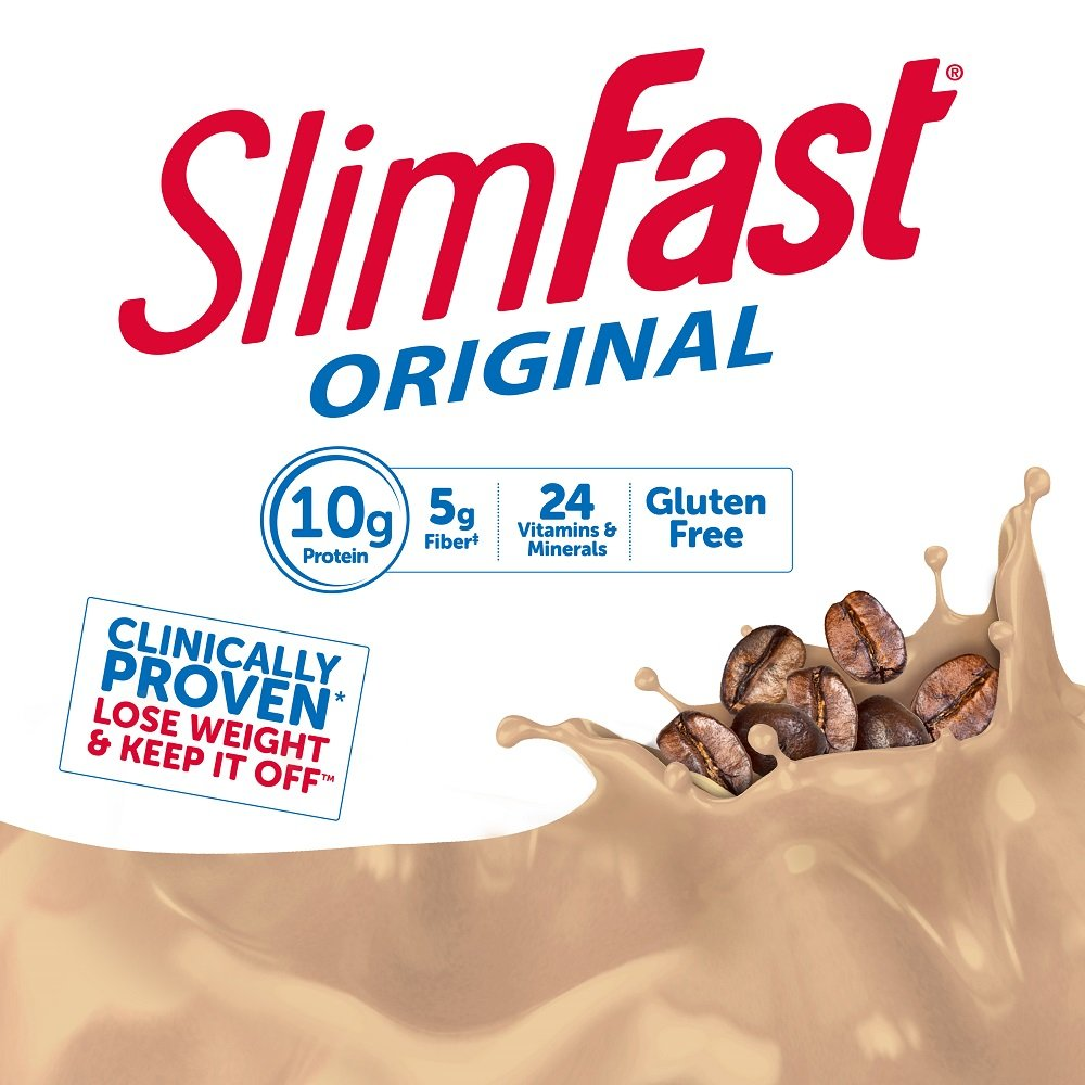 SlimFast Original Cappuccino Delight Shake – Ready to Drink Weight Loss  Meal Replacement – 10g of