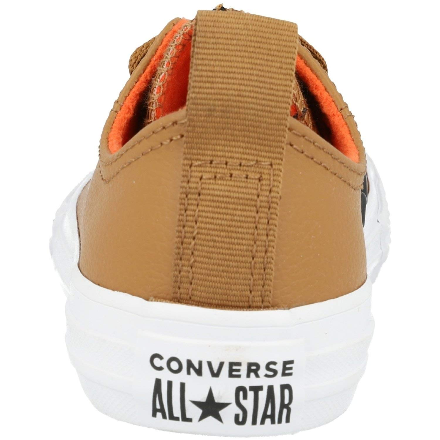 Converse Chuck Taylor All Star Puffer Stitch Ox Burnt Caramel//Bright Poppy Leather Youth Trainers Shoes