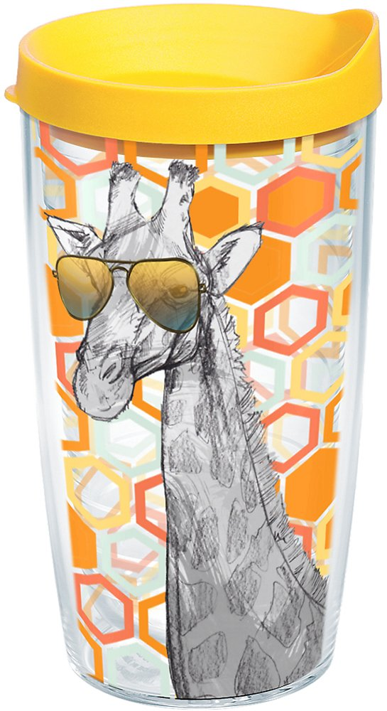 Tervis 1136339 Funky Animals Collection Giraffe with Shades Insulated Tumbler with Wrap and Yellow Lid, 16oz, Clear