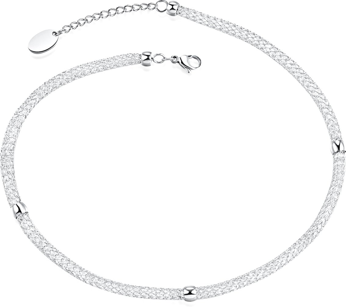 Wonlines Fashion Hollow Stainless Steel Mesh Short Choker Necklace(White)