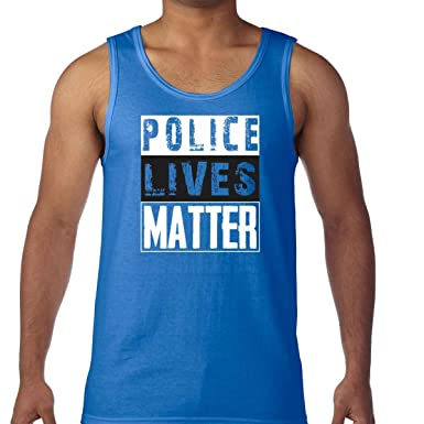 AW Fashions Police Lives Matter - Blue Lives Mens Tank Top (Small, Royal Blue