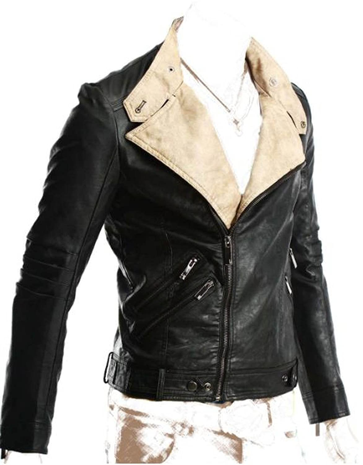 Mens biker PAKKI black faux slim fit leather jacket-Get Customize Jackets