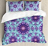 Purple and Blue Bedding Sets Ambesonne Purple Mandala Duvet Cover Set Queen Size, Geometric Mosaic Fractal Ethnic Sign of Universe Graphic Art, Decorative 3 Piece Bedding Set with 2 Pillow Shams, Sky Blue Teal Mauve Lilac