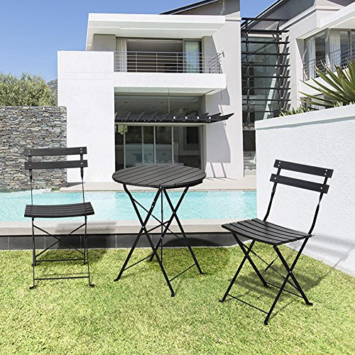 3 Piece Outdoor Bistro Table Set, Outdoor Furniture Round Folding Table & 2 Chairs Set, All Weather Resistant Wood-plastic Material, Rust-proof Powder-coated Metal Frame