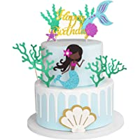 Glitter Mermaid Theme Birthday Cake Topper with Seaweed and Mermaid, Cake Cupcake Toppers for Girls Mermaid Themed…