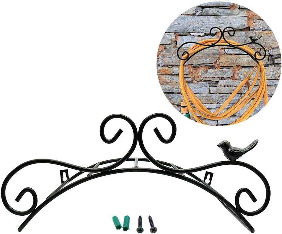 "13.8"" Hanging Garden Hose Holder Decorative Wall Mount Hanger Rack Cast Iron Antique Style Bird Brackets Garden Braces Water Pipe Storage Rack Rustic Shelf Bracket Black"