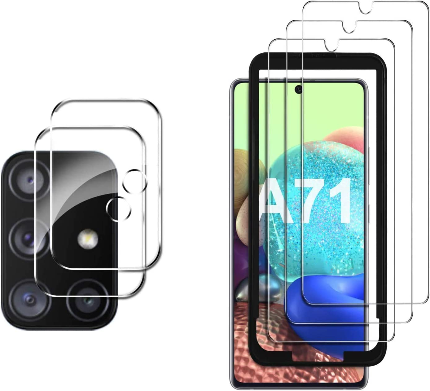 Amazon Com Gesma For Samsung Galaxy A71 Screen Protector And Camera Lens Protector Compatible 4g 5g 3 Screen Protector 2 Camera Protector 1 Tray Tempered Glass For Samsung Galaxy A71 5g 4g Phone Clear