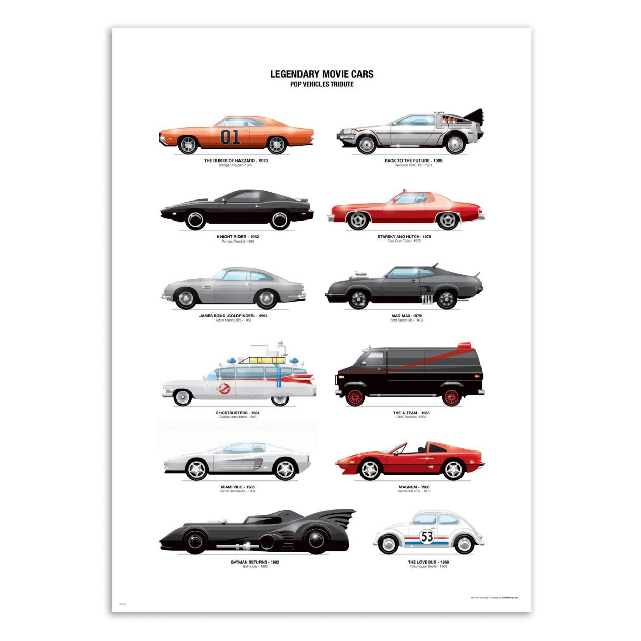 Legendary Movie Cars Olivier Bourdereau Wall Editions Art-Poster