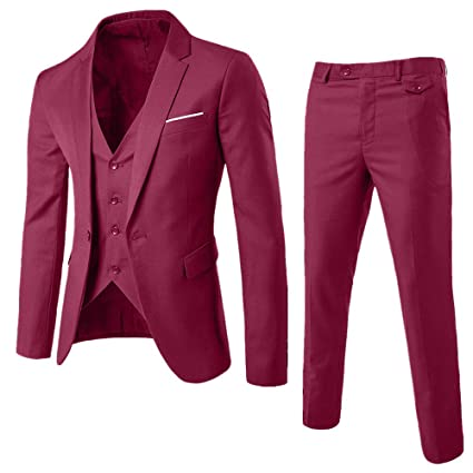 Moserian Mens Suit Slim 3-Piece Suit Business Wedding Party ...
