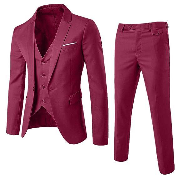 Amazon.com : Ximandi Mens Slim Fit 3-Piece Suit Blazer ...