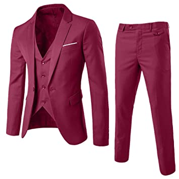 Amazon.com : Ximandi Mens Slim Fit 3-Piece Suit Blazer ...