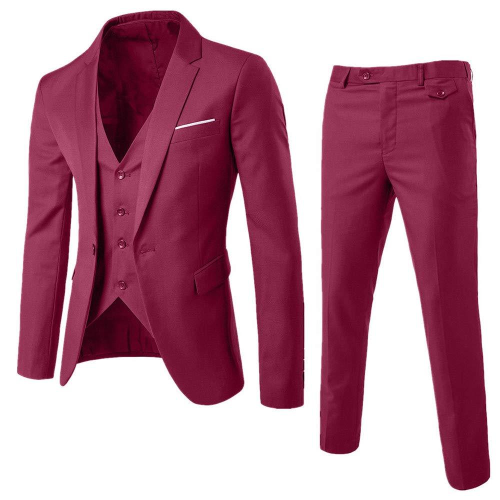 Honestyi Herrenanzug Slim 3 Piece Suit Blazer Business Hochzeitsfestjacke Weste & Hose(Grau Schwarz Marine Wein,S M L XL XXL XXXL) B07K9MWMLJ Anzüge & Sakkos Wert