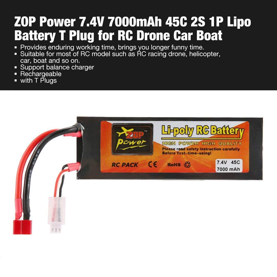 batería lipo, ZOP Power 7.4V 7000mAh 45C 2S 1P Lipo Batería T Plug ...