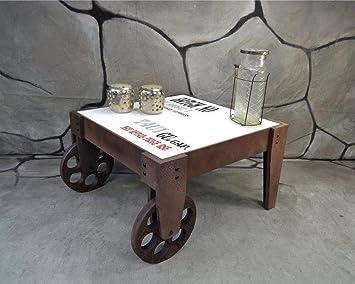 Livitat® Beistelltisch Couchtisch Vintage Industrie Look LOFT 60 x 60 cm  LV2066