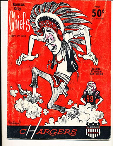 - 9/29 1963 Kansas City Chiefs vs San Diego Chargers AFL football program