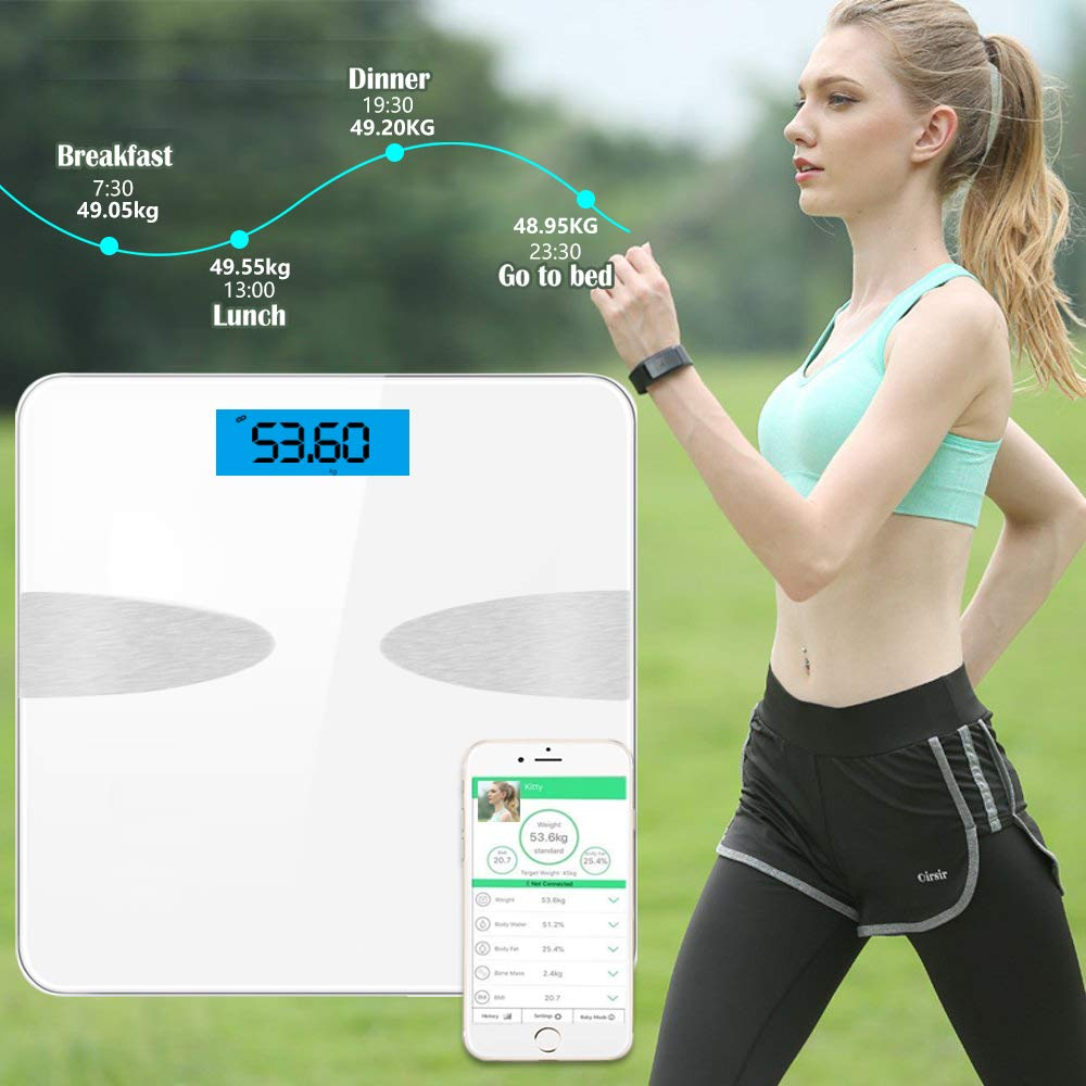ANYOYO Bluetooth Body Fat Scale with IOS and Android App Smart Digital Bathroom Scales Healty Analyzer for Body weight,Body Fat,Body Water,Bone Mass,Muscle Mass,BMI,BMR,Visceral Fat