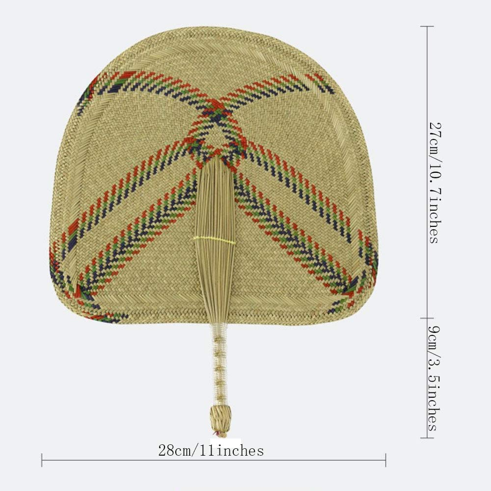 Fan Hand-Woven Chinese Wind Grass 100/% Quality Clean Grass Meaningful Gift Shape : Semicircular