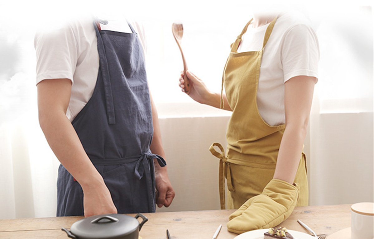 Delantales de Cocina para Hombres y Mujeres para Hornear jardiner/ía Restaurante Ajustable Delantal 100/% algod/ón HNJZX Delantal de Cocina Calidad Profesional con Bolsillos