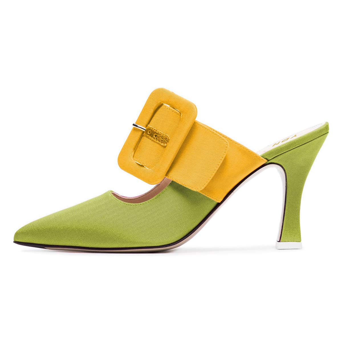 YDN Women Pointed Toe High Heel Mules Slip on Sandals Slide Shoes with Buckle