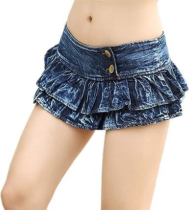 Morbuy Falda Mezclilla Mujer Mini Sexy Tela De Mezclilla Cintura ...