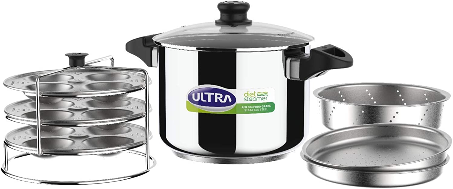 ULTRA Stainless Steel Multi Steamer Pot- 6 (3 idli plates, 3 perforated trays) Steamer/Idiyappam Steamer Plate Induction & Gas Stove Compatible Idli Maker