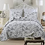 queen quilt birds - HNNSI 3pcs Reversible Quilt Bedspread Set Queen Size 100% Cotton - Flying Birds Flowers Tree Printing, Comfy Home Collections Bedding Sets