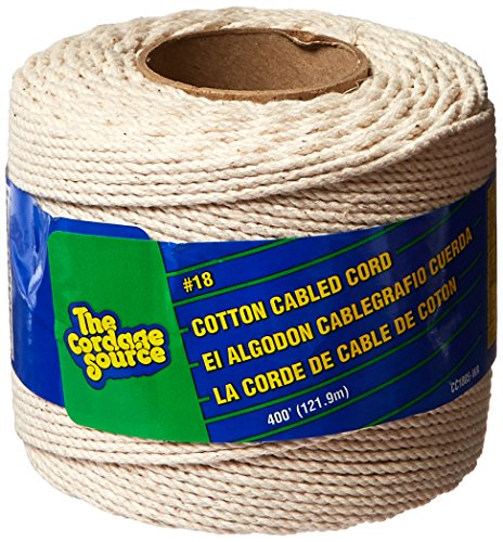 CORDAGE SOURCE CC1805 No.18 Cotton Cable Cord, 400-Feet - Cordage Source Poly Twine