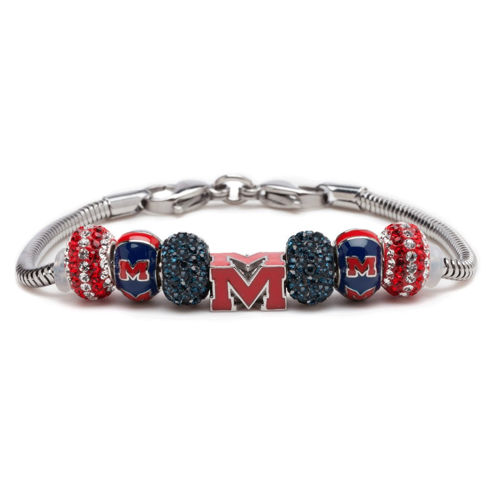 University of Mississippi Charm Bracelet | Ole Miss Rebels Block ''M'' Stainless Steel Jewelry | UM Gifts | Officially Licensed by The University of Mississippi | Product