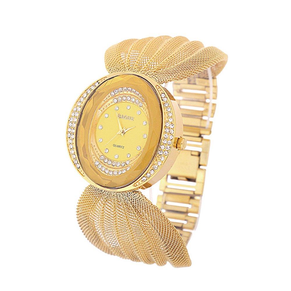 AMASSAN Fashion Style Golden Net Chain Women's Wrist Watch Gold