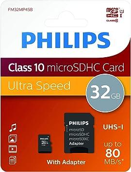 Amazon.com: Philips tarjeta de 32 GB Micro SD (SDHC) + ...