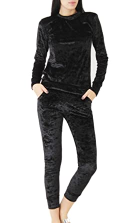 Love My Fashions® Womens Tracksuit Ladies Crushed Velour Velvet Look set  sweater Lounge 2 Piece 92b735ccb7
