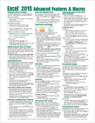 Microsoft Excel 2013 Advanced & Macros Quick Reference Guide ...