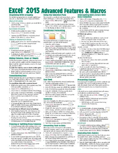 cheat sheet template excel - microsoft excel 2013 advanced macros quick reference