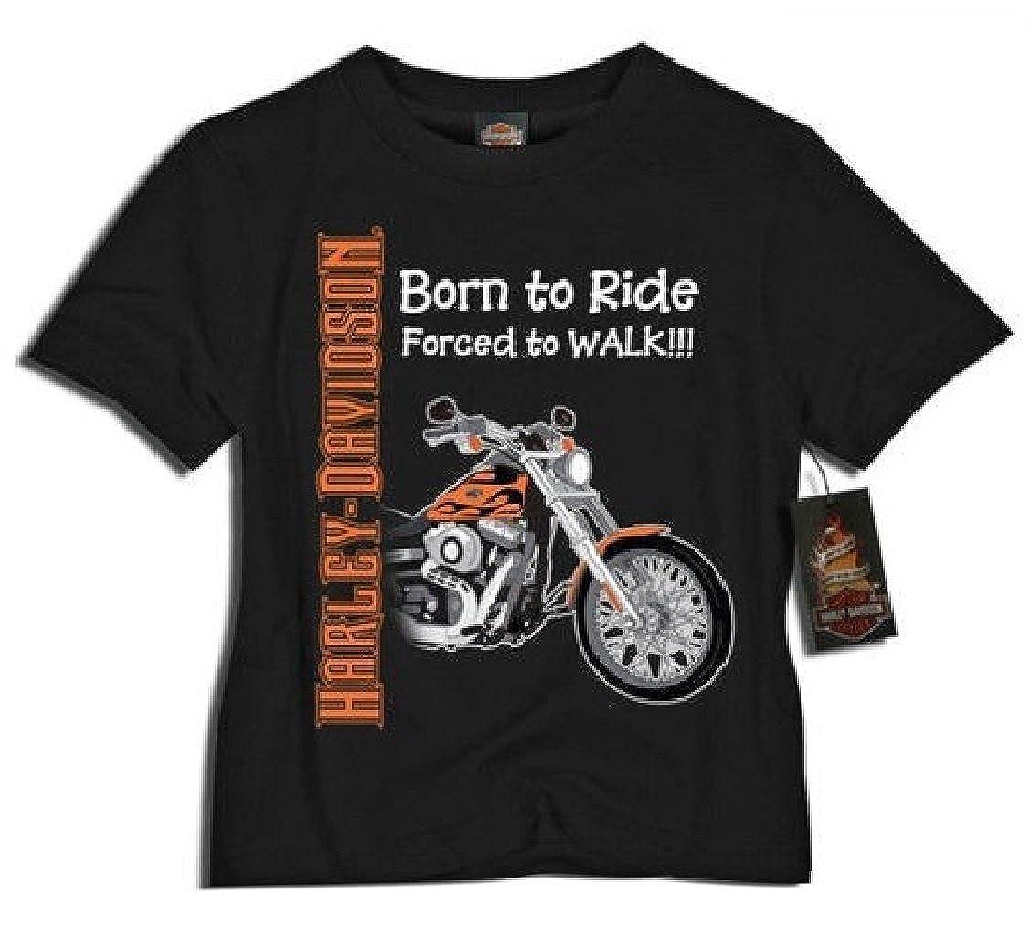 Harley-Davidson Little Boys' Born to Ride, Forced to Walk Tee Black 0174132 SGI