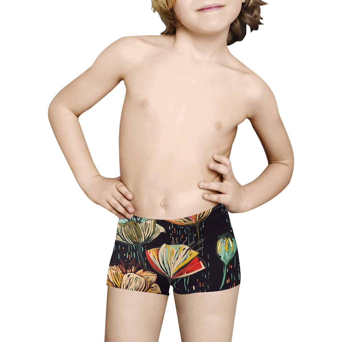 INTERESTPRINT Boys Colorful Tulips Flower All Over Print Boxer Briefs 5T-2XL