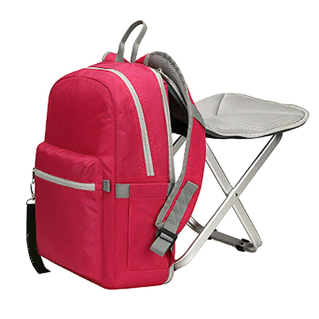 Jeeke Backpack Stool Combo Portable & Folding Camping Chair Stool Backpack with Padded Shoulder Straps Hiking Seat Table Bag Camping Gear for Fishing Travel Beach BBQ (Red)