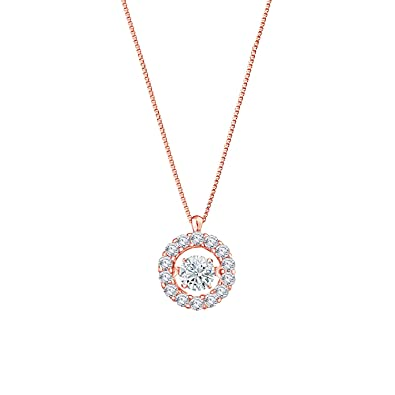 014534d1a8bb Amazon.com  Diamond Wish 14K Rose Gold Dancing Diamond In Rhythm Circle  Halo Pendant Necklace (1 3 cttw) with 18
